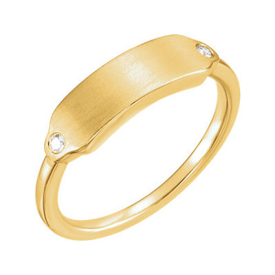 Namepate Diamond Accent Ring