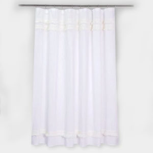 Macramé Fringe Shower Curtain Cream