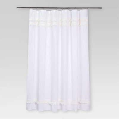 Macramé Fringe Shower Curtain Cream