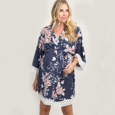 Navy Faded Floral Lace Trim Maternity Delivery and Nursing Robe