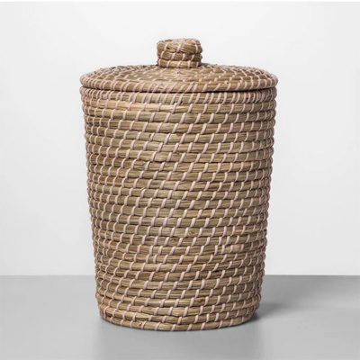 Solid Bathroom Wastebasket Glazed Peach
