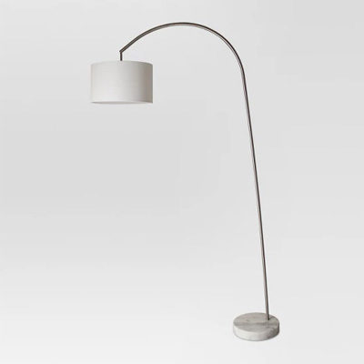 Shaded Arc with Marble Base Floor Lamp