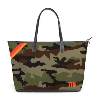 St Anne Zippered Tote Monogram Stripe – Camo