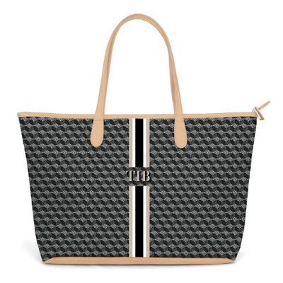 St Anne Zippered Tote Monogram Stripe – Black Geometric