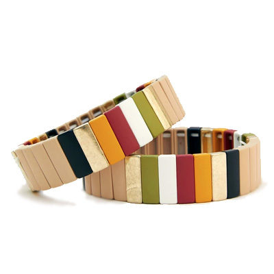 Happy Fall Y'All Matte Painted Stretch Block Bracelets