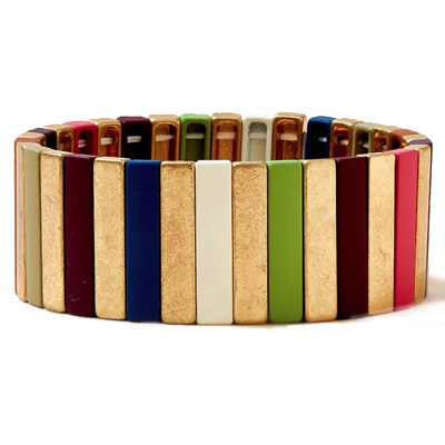 Wine Down Pinstripe Wide Stretch Bracelet