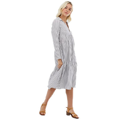 Tiered Collared Cotton Smock Midi Dress