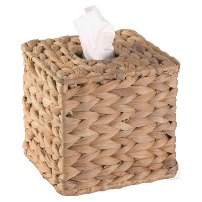 Vintiquewise Water Hyacinth Wicker Square Tissue Box
