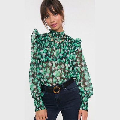 DESIGN shirred high neck top in blurred floral print