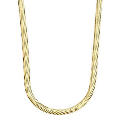 Miabella 18K Gold Over Sterling Silver Italian 4mm Solid Diamond-Cut Flat Snake Dome Herringbone Chain