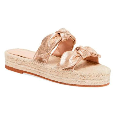 Daisy Two Bow Leather Espadrille Platform Sandals