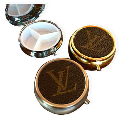 Handcrafted mint tin with Louis Vuitton canvas