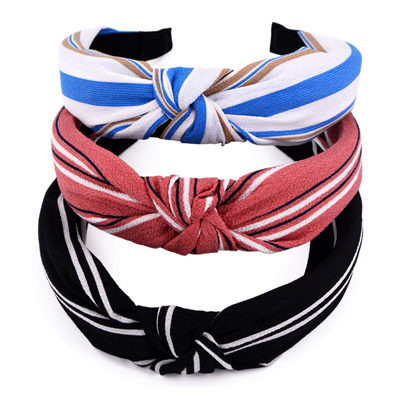 Handmade Wide Stripes Cloth Cross Knot Hair Hoop Hairband