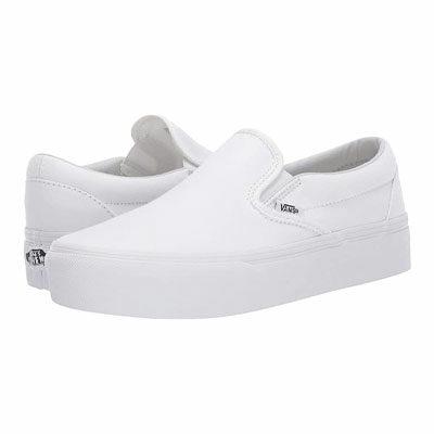 White Platform Slip Ons